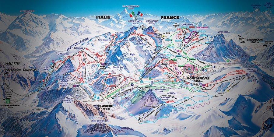 montgenèvre - plan station ski