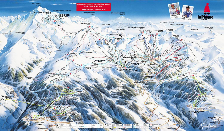 La Plagne - Plan des pistes de ski