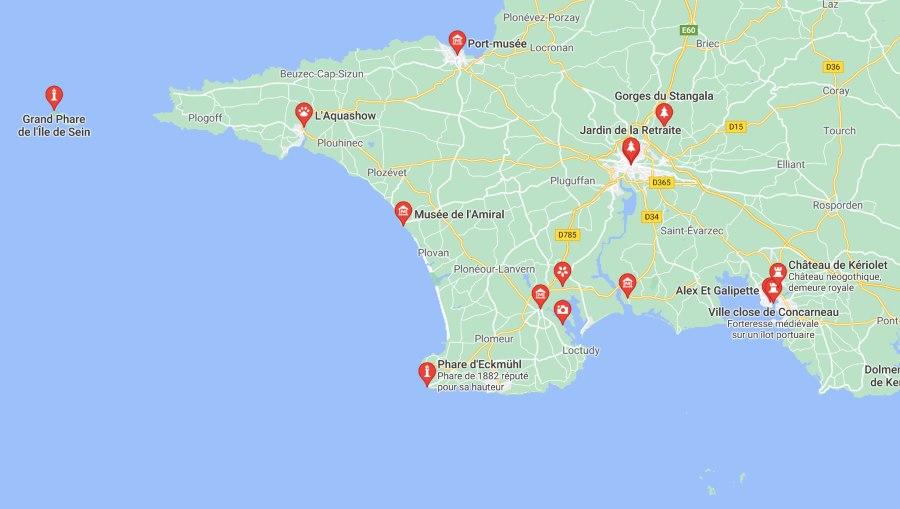 Carte Finistère Sud